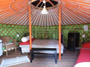 interno yurta capanna mongola con letto e sedie