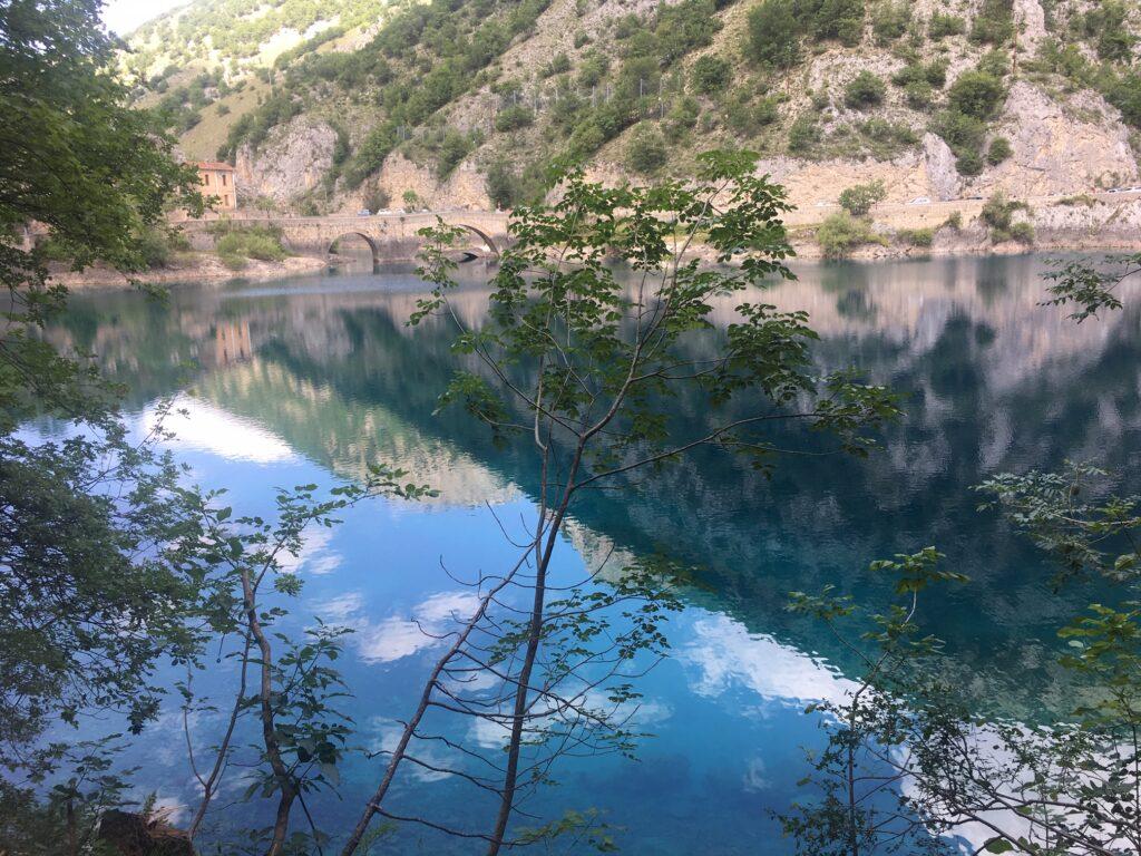 vista lago con montagna e alberi