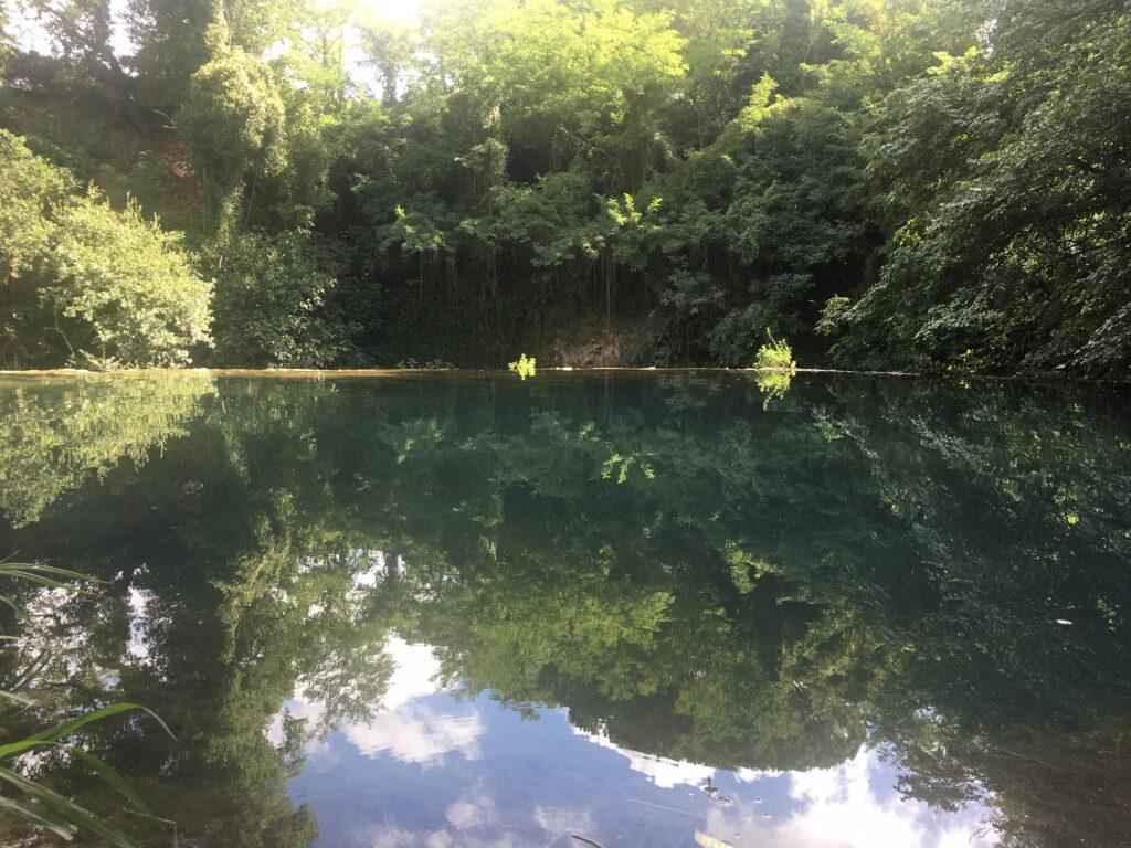 lago formato dal fiume con bosco